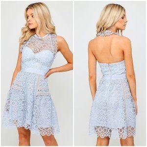 SELF-PORTRAIT circle floral lace mini dress pale blue